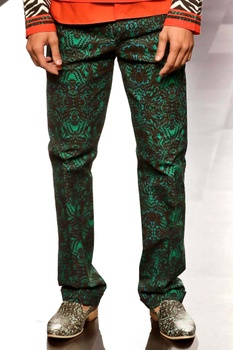 Green printed trousers