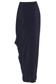Oxford blue draped skirt