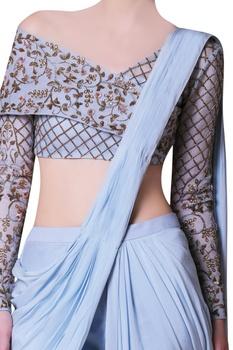 Blue sari & embroidered off-shoulder blouse