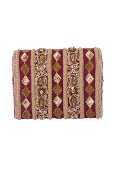 Brown sequin & bead embellished clutch