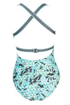 Green deep V neckline swimsuit