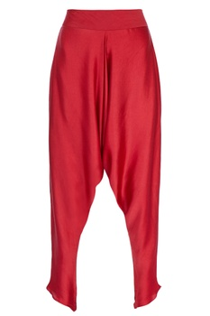 Red cowl draped pants