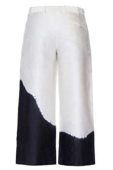 White & black double layered tie & dye chanderi pants