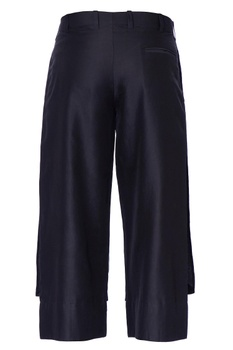 Blue cropped chanderi and silk linen trousers
