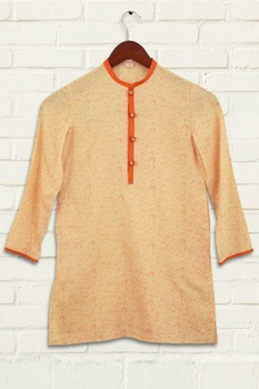 Orange printed kurta set