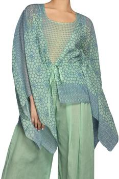 Blue & green digital print pant set