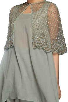 Grey pearl & bead embellished cape