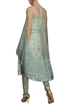 Ice blue sequin embroidered cape