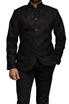 Black bandhgala in threadwork embroidery