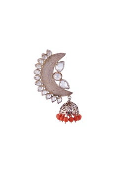 Silver half moon shaped jhumkas