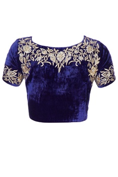 Blue velvet embroidered sari blouse