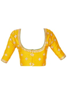 Mustard raw silk blouse