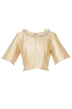 Gold bib collar blouse