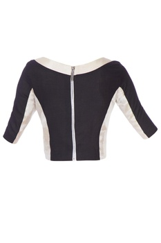 Black and silver silk blouse