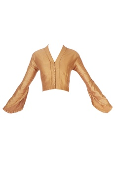 Gold v-neck frill blouse