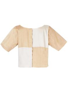 Gold & silver check blouse