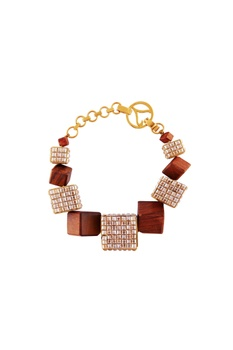 Gold bracelet with wood & metal motifs