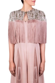 Blush pink jumpsuit with cape layer