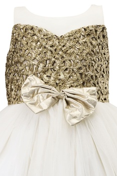 White floral embossed brocade dress
