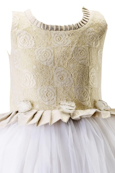 White embroidered cotton silk gown