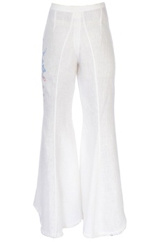White high-waist bell bottom pants