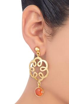 Gold plated carnelian earrings