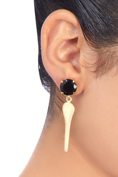 Gold plated earrings with black onyx work