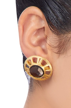 Gold plated smokey quartz earrings