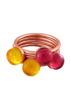 Pink & yellow quartz ring set