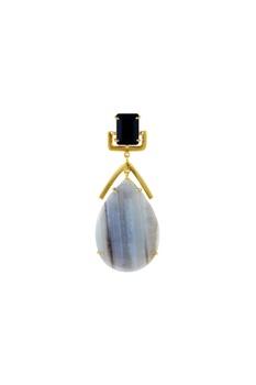 Gold plated black onyx earrings