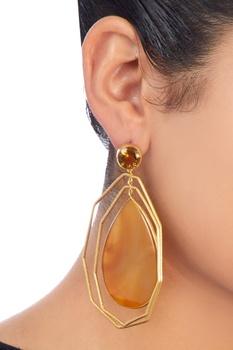 Gold plated calcedony & bear quartz earrings