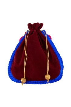 Burgundy potli with blue ruffle accents