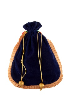 Blue potli with drawstring closure