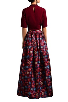 Oxblood crop top & floral skirt