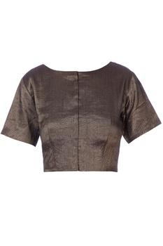 Black bronze zari sari blouse