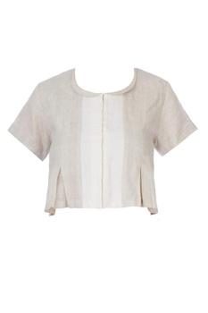 Off white pleated sari blouse