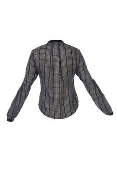 Grey gingham sari blouse