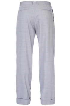 Grey checkered loose trousers