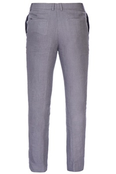 Grey fitted linen trousers