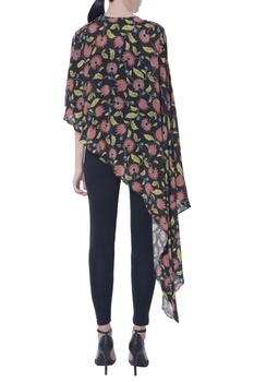 Multicolored floral asymmetric cape