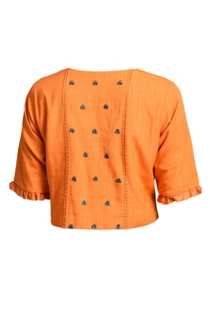 Orange pleated style blouse