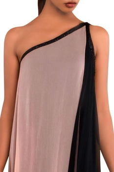 Peach & black one shoulder gown