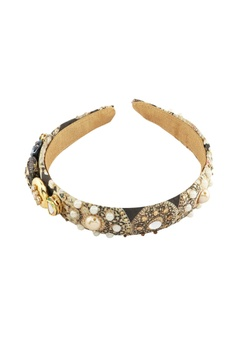 Black rajwada jewel encrusted hairband