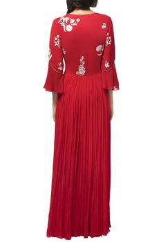 Red georgette resham & moti stone embellished gown