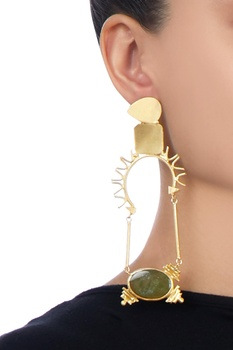 Gold plated earrings with black stones