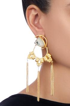 Gold tassel long earrings