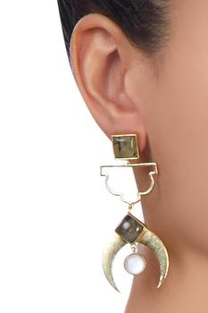 Gold plated circular stone earrings
