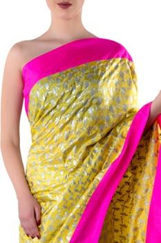 Yellow printed sari with blouse piece