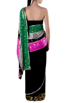 Black embroidered sari with blouse piece