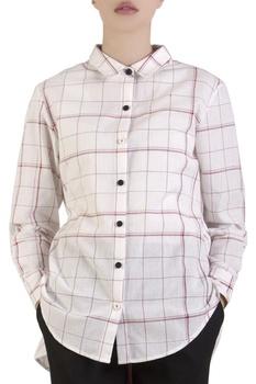 White stripe shirt with tie-up drawstrings